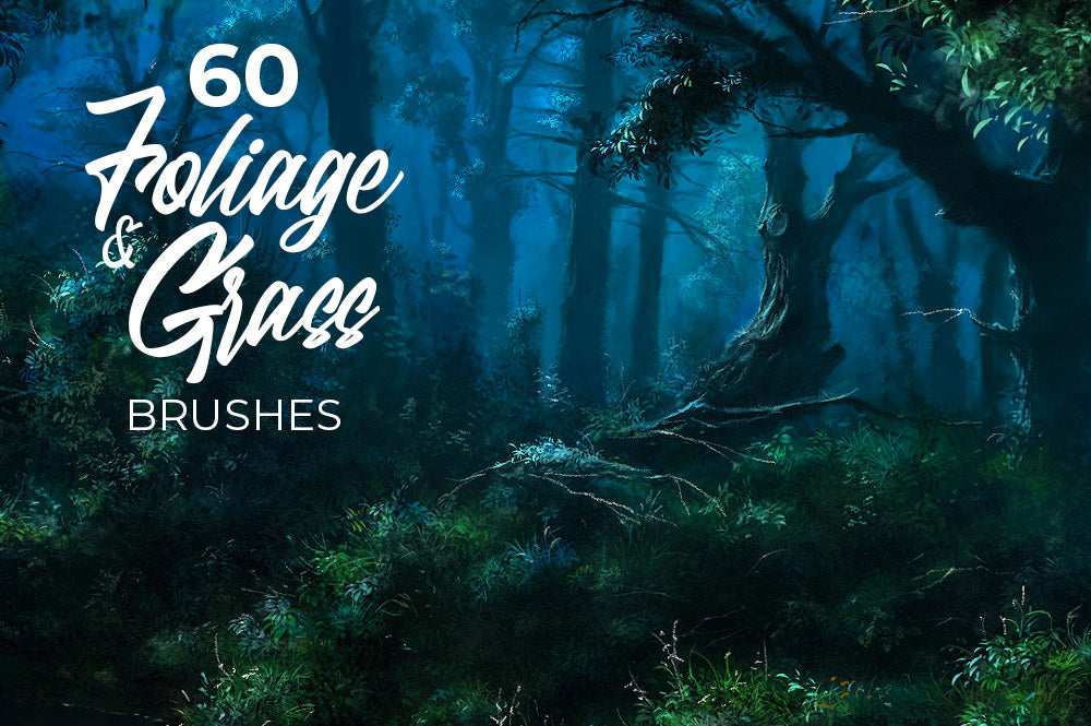 60 Foliage, Grass and Moss Photoshop brushes