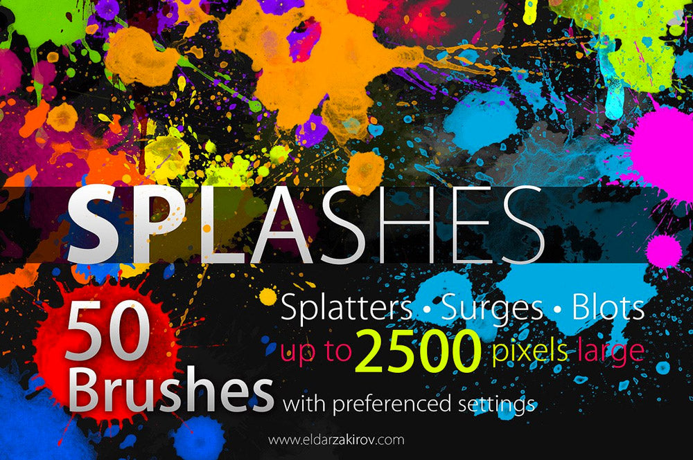 50 Paint Splashes Photoshop Brushes