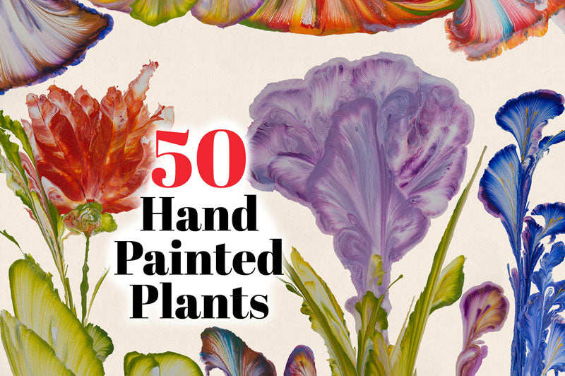 50 Hand Painted Plants and Flowers
