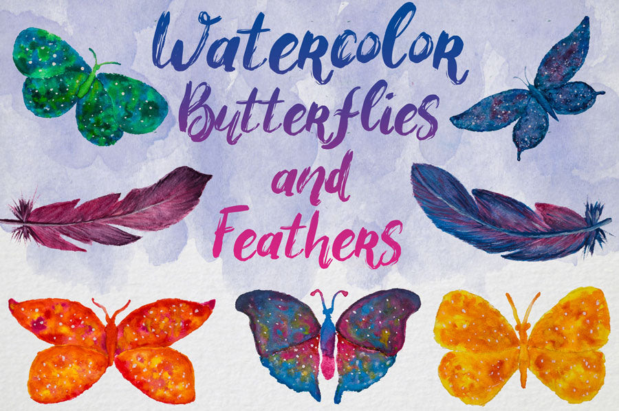 Watercolor Butterflies and Feathers