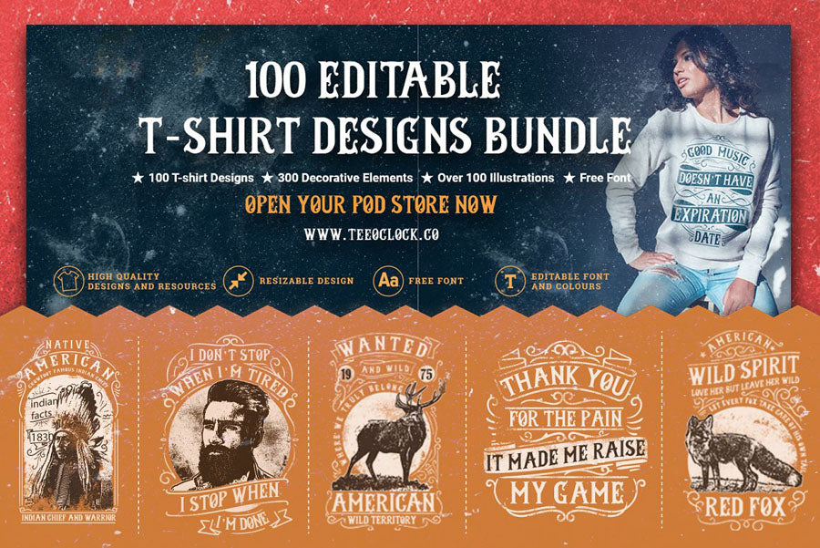 100 Editable T-shirt Designs