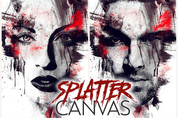 Splatter Canvas Photo Template for Photoshop