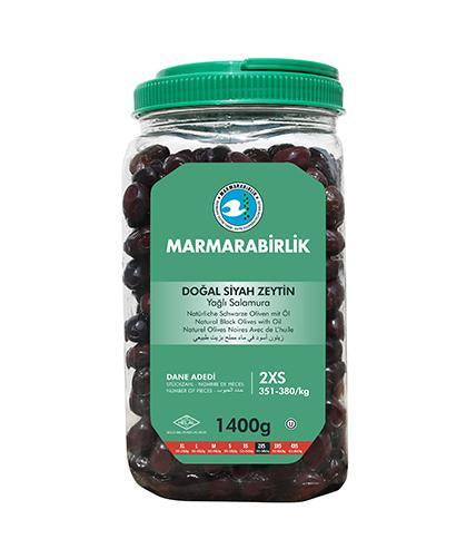 Marmarabirlik 1400gr Natural Black Olives with Oil (Size 2XS)