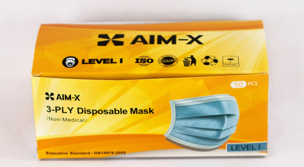 AIM - X 3 Ply Disposable Face Masks box of 50 pcs