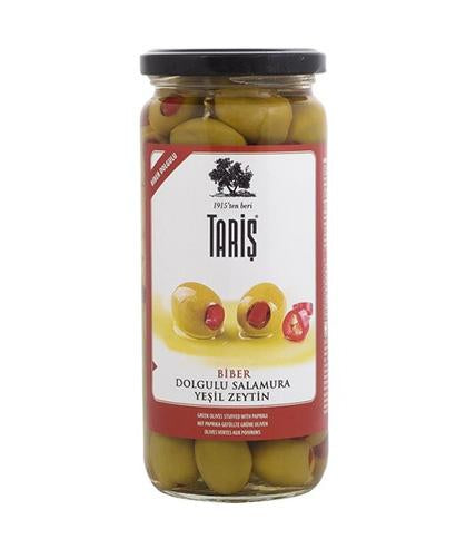 Taris Green Olives Stuffed with Red Pepper 500cc