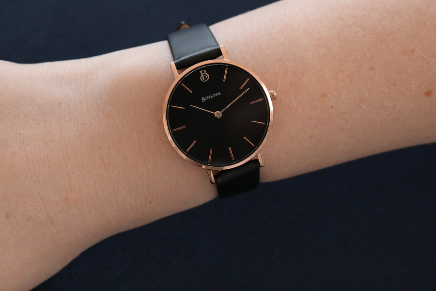 THE ASPIRE, ROSE GOLD PETITE (Black Dial)