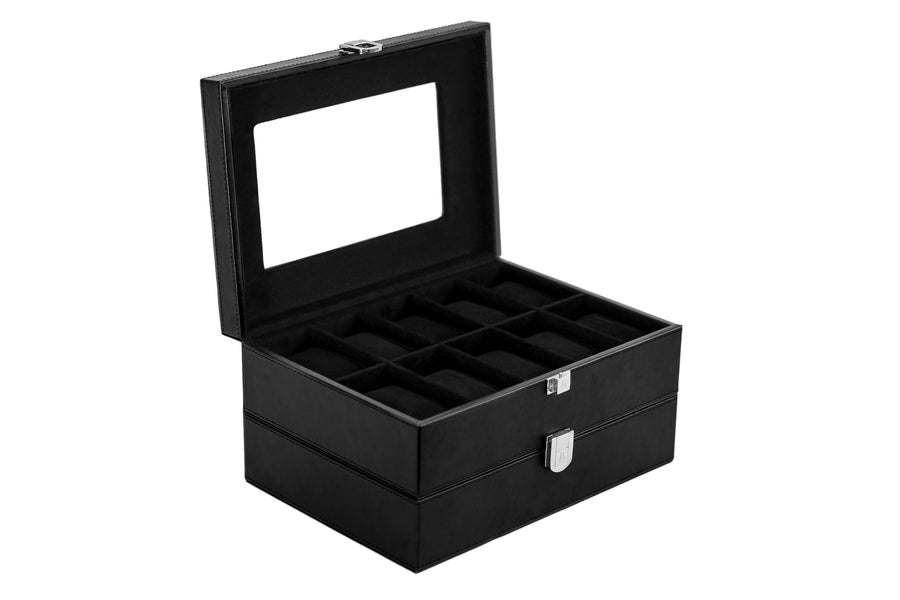 Black Suede interior, Black leather watch case 20 grid