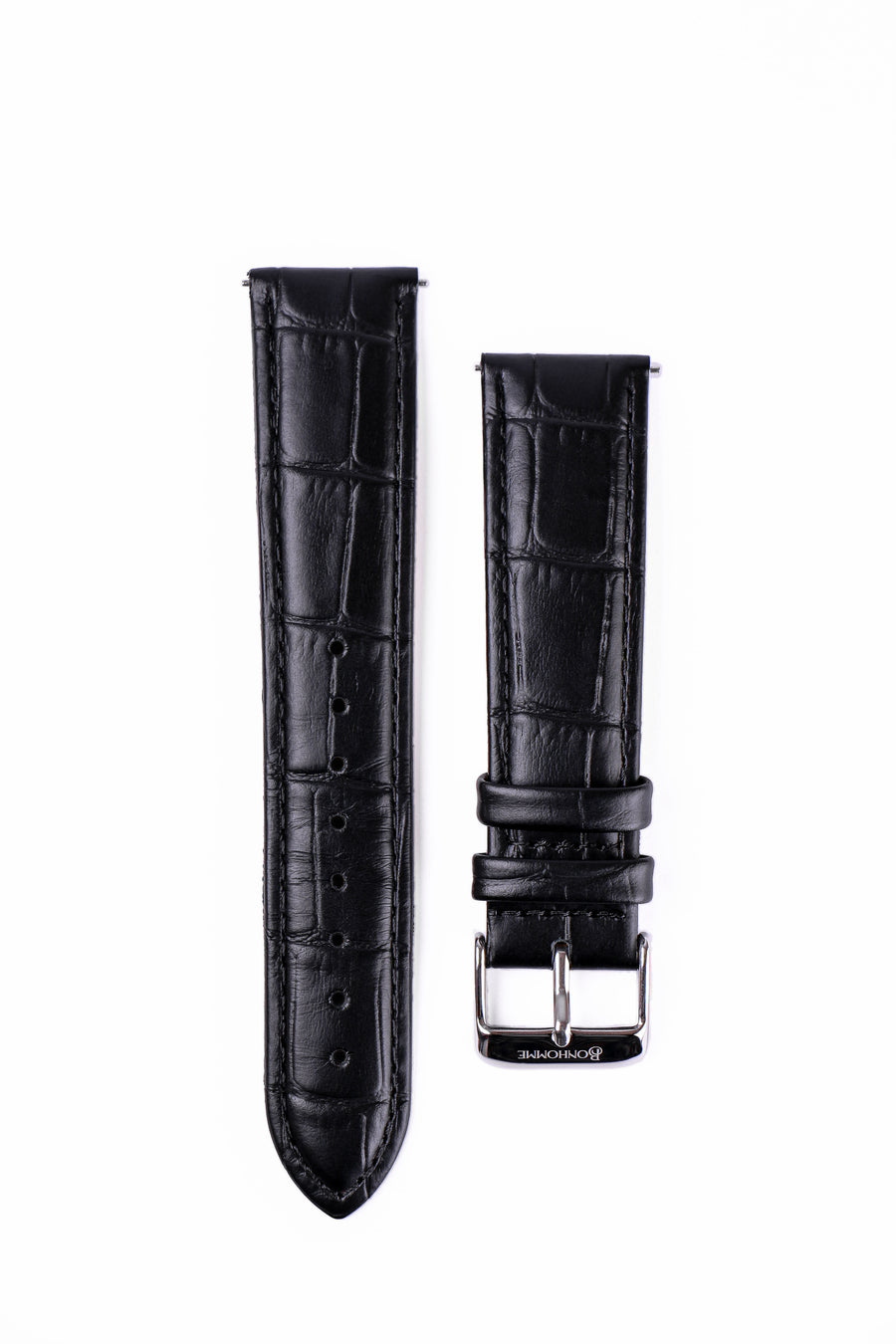 Black Croc Leather watch strap with engraved silver buckle