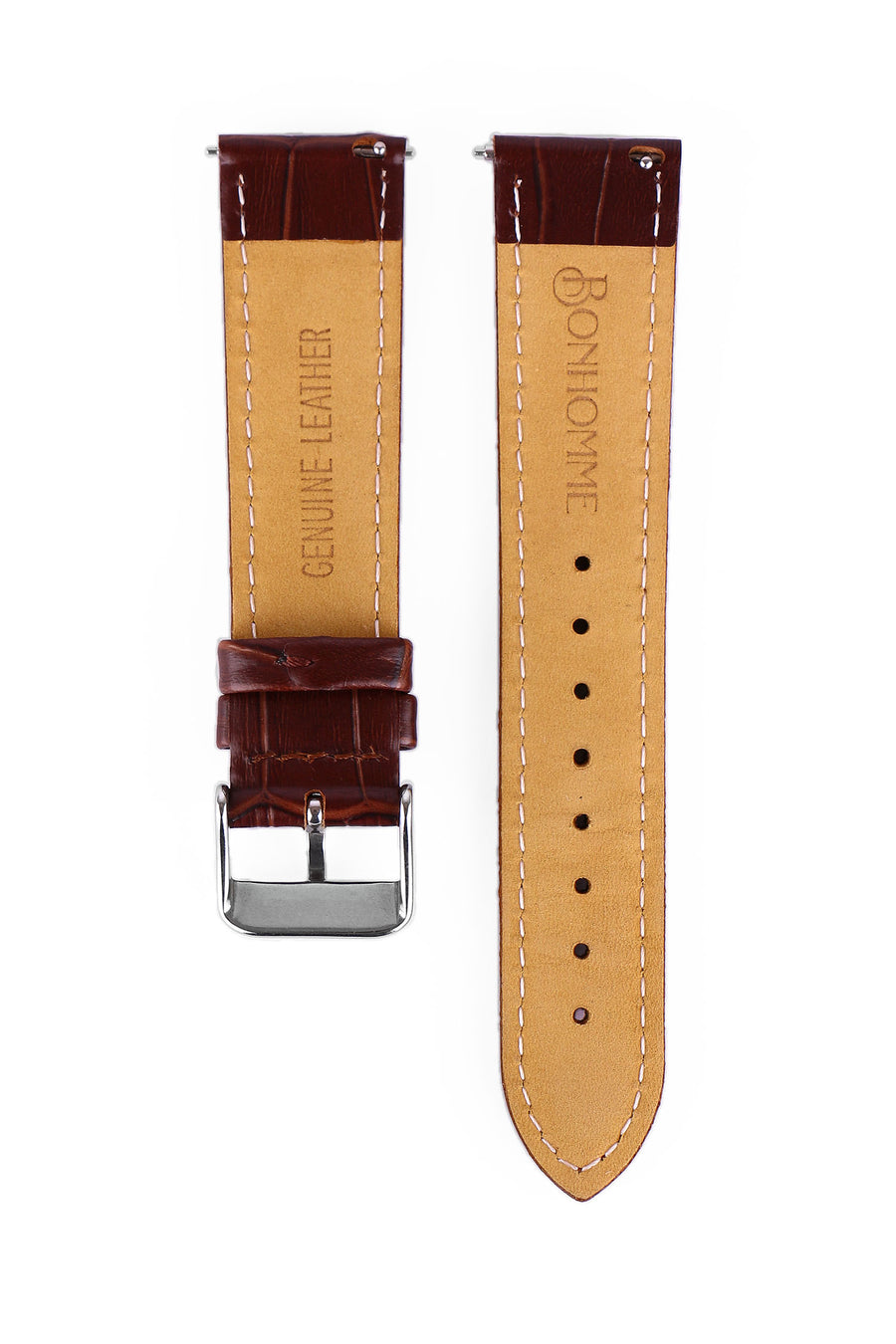 Tan Croc Leather watch strap under view of deboss logo