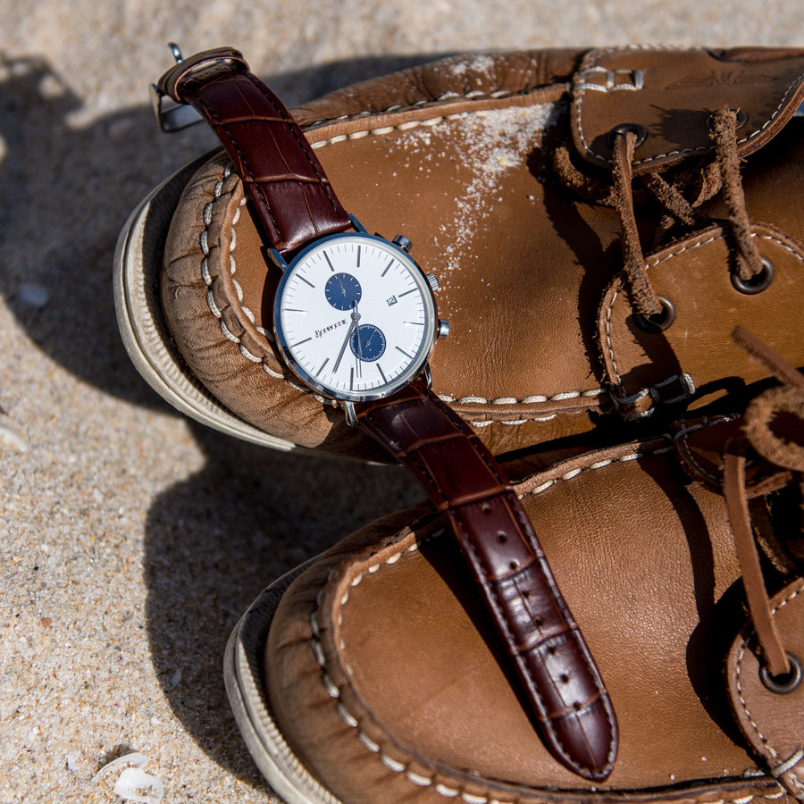 TAN CROC LEATHER STRAP