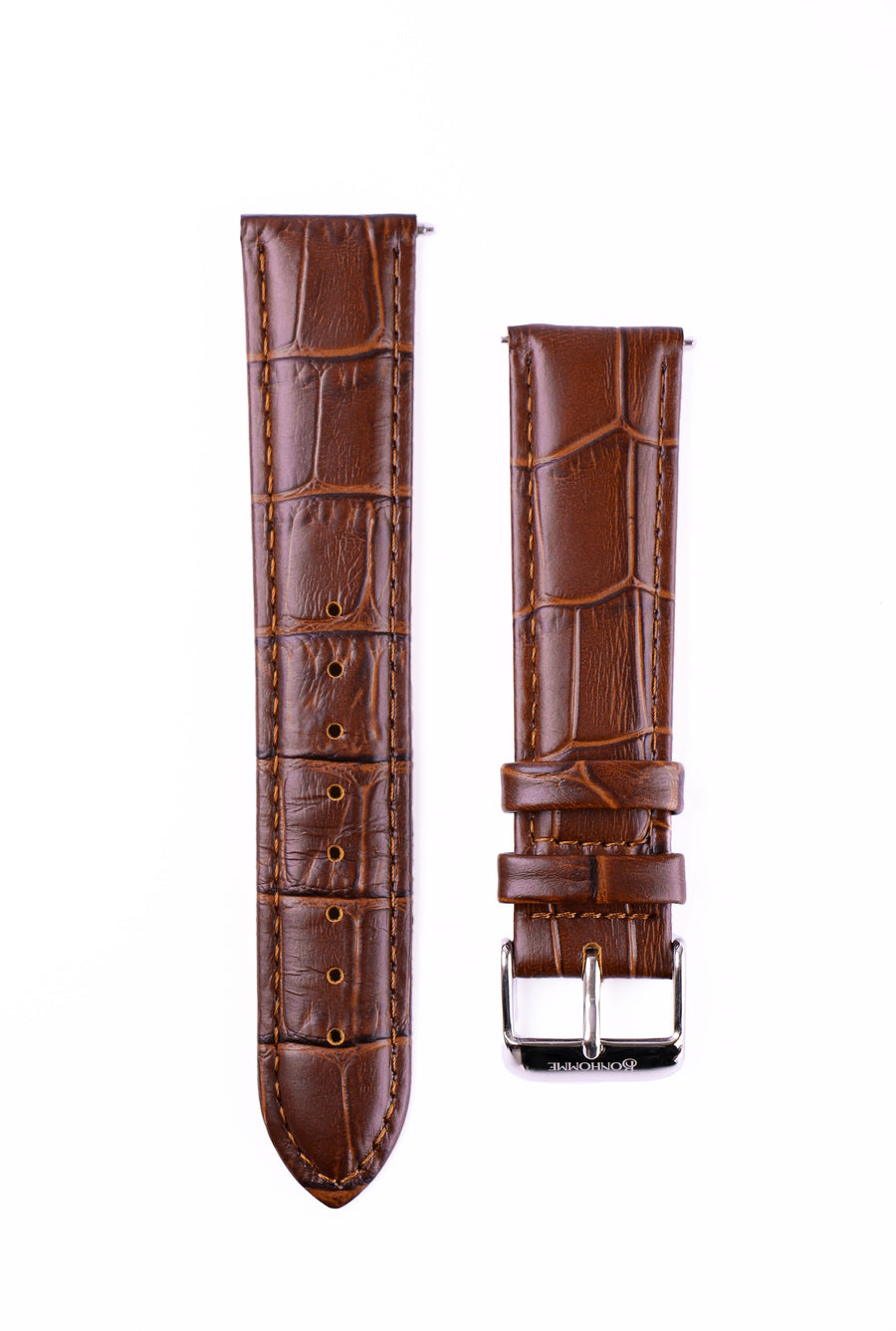 Tan Croc Leather watch strap with engraved silver buckle