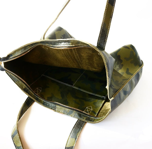 Camo Tote Bag with Zipper and  Rose Gold/Black Stripes