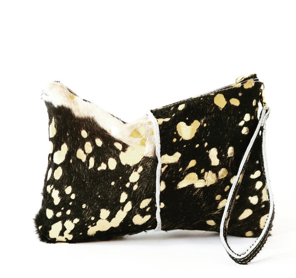 Black/Gold Hair on Hide Wristlet
