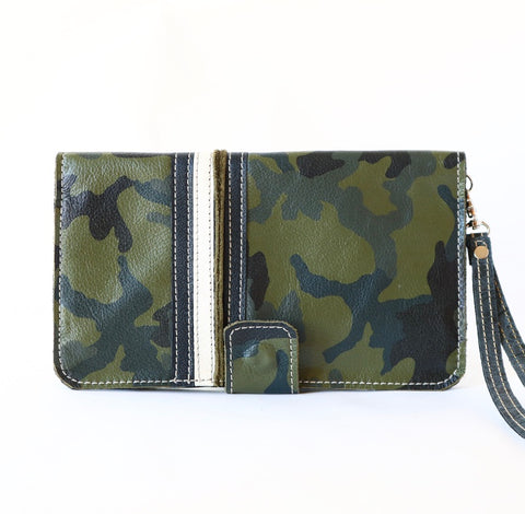 Wallet Clutch in Camo with Black and White Stripes