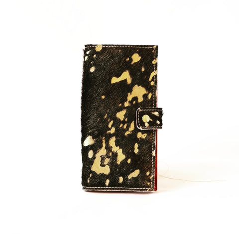 Slim Jim Wallet Hair on Hide Black/Gold