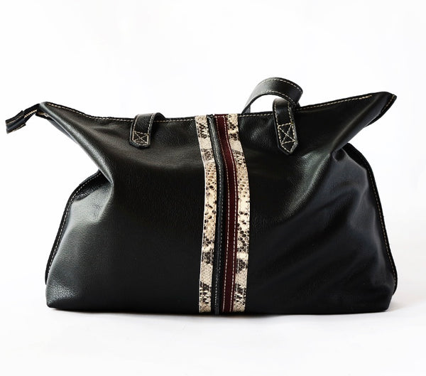 Tote Bag with Top Zipper Slouchy Black with Snakeskin /Burgundy Stripes