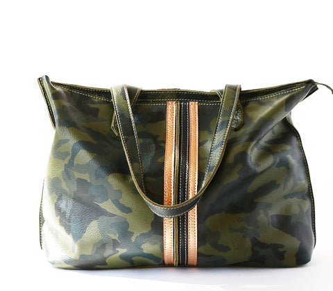 Tote Bag with Zipper Camo Rose Gold/Black Stripes