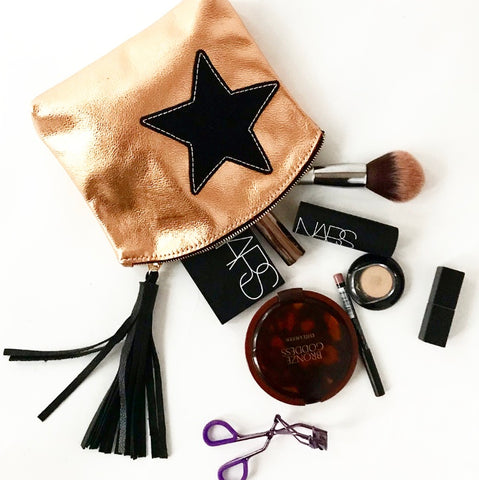 Rose Gold with Black Star Makeup Bag