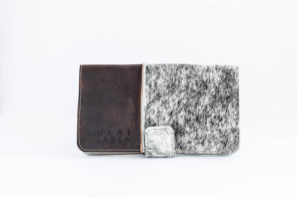 Wallet Clutch in Dark Chocolate and Salt and Pepper Hair on Hide