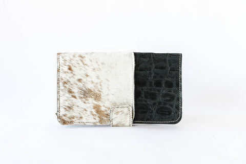 Wallet Clutch in Charcoal and Tan Hair on Hide