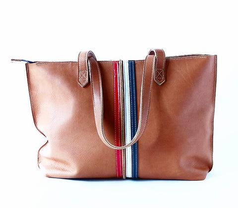 Tote Bag Zipper Top Camel with red/white/charcoal stripes