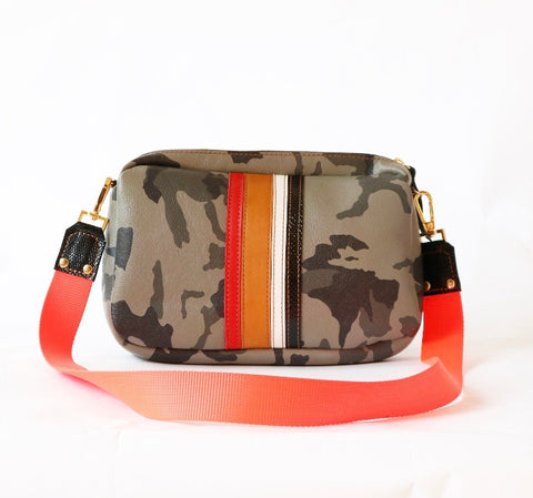 Cross Body Dopp Kit in Grey Camo and Tan/Red/White/Black Stripes