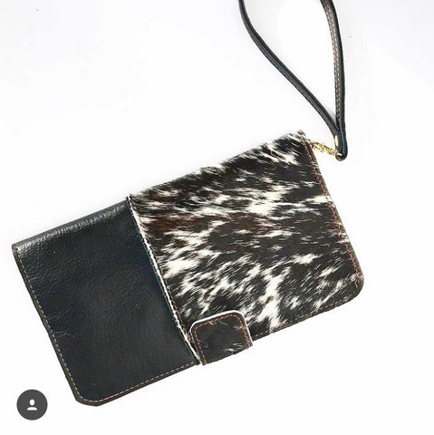 Wallet Clutch in Black/ Hair on Hide Leather