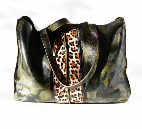 Camo Tote Bag Camo Leopard/Patent Black Stripes