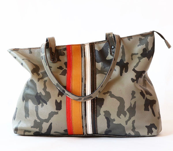 Grey Camo Zipper Tote Bag with tan/red/white and black stripes