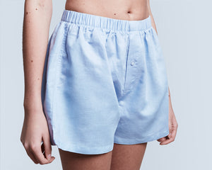 Blue Linen Boxer Shorts