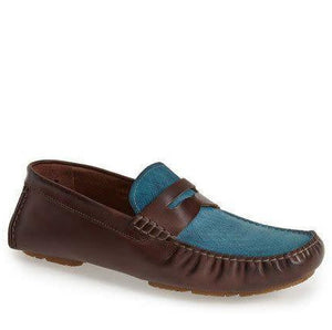 Bacco Bucci Albatros Tan/Blue Loafer (8  Tan/Blue)