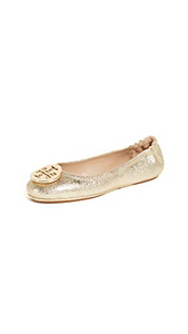 Tory Burch Minnie Leather Ballet Flat Spark Gold