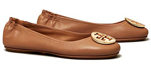 Tory Burch Minnie Leather Ballet Flat Royal Tan & Gold