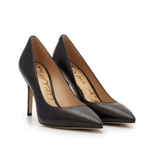 Sam Edelman Hazel Pointed Toe Heel (5, Black Leather)