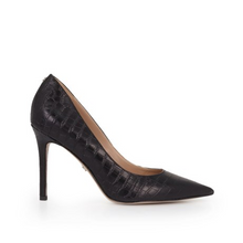 Load image into Gallery viewer, Sam Edelman Hazel Pointed Toe Heel Black Croc Leather