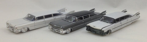 M2 Machines Stretch Rods EXCLUSIVE RELEASE - 1959 Cadillac Set - Charcoal Gray and BOTH Pearl White Stock/Drag Chases