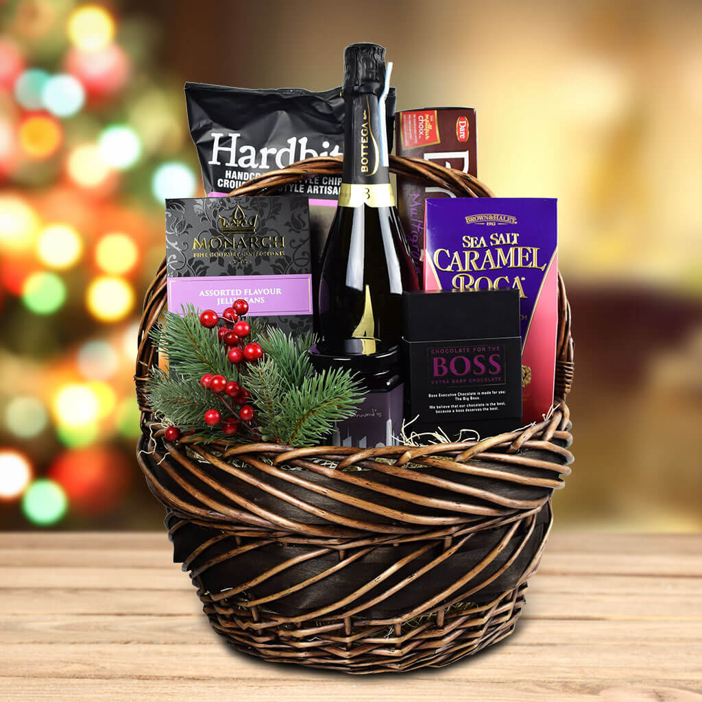 The Winter Treats Gift Basket With Sparkling Wine | Christmas Gifts - North Pole Company | USA