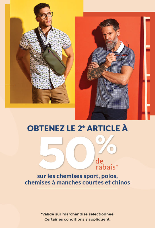 2e article à 50% chemises sport polos chemises à manches courtes chinos