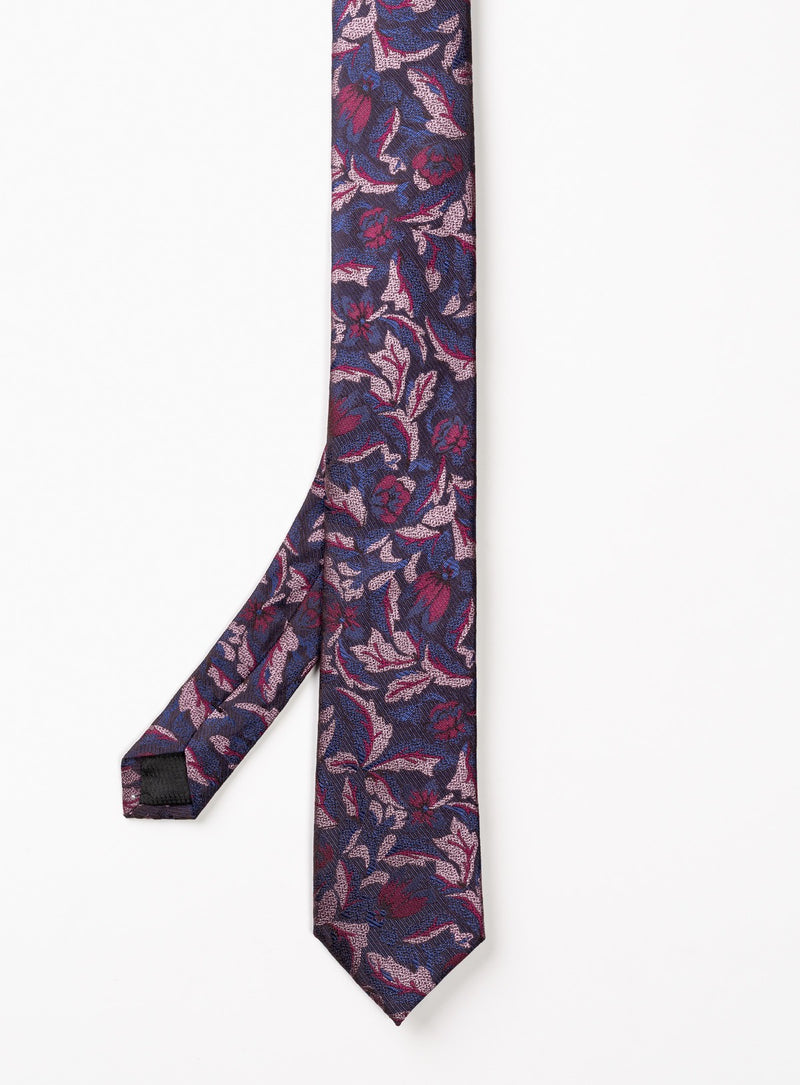 navy and pink abstract pattern tie - anthony of london -pink