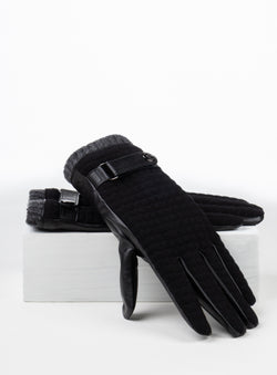 Black Quilted Gloves - Anthony of London -BLACK