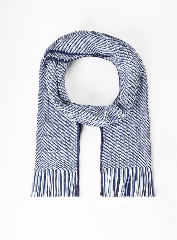 Striped Knit Weave Scarf - Orvieto -NAVY