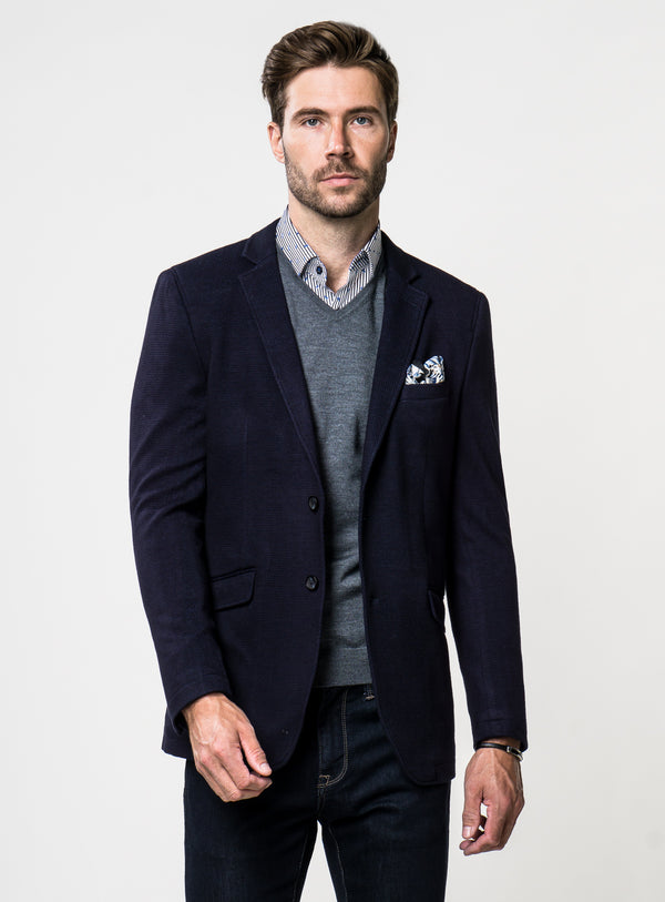 CYBER MONDAY Navy Waffle Sport Jacket - Anthony of London -NAVY