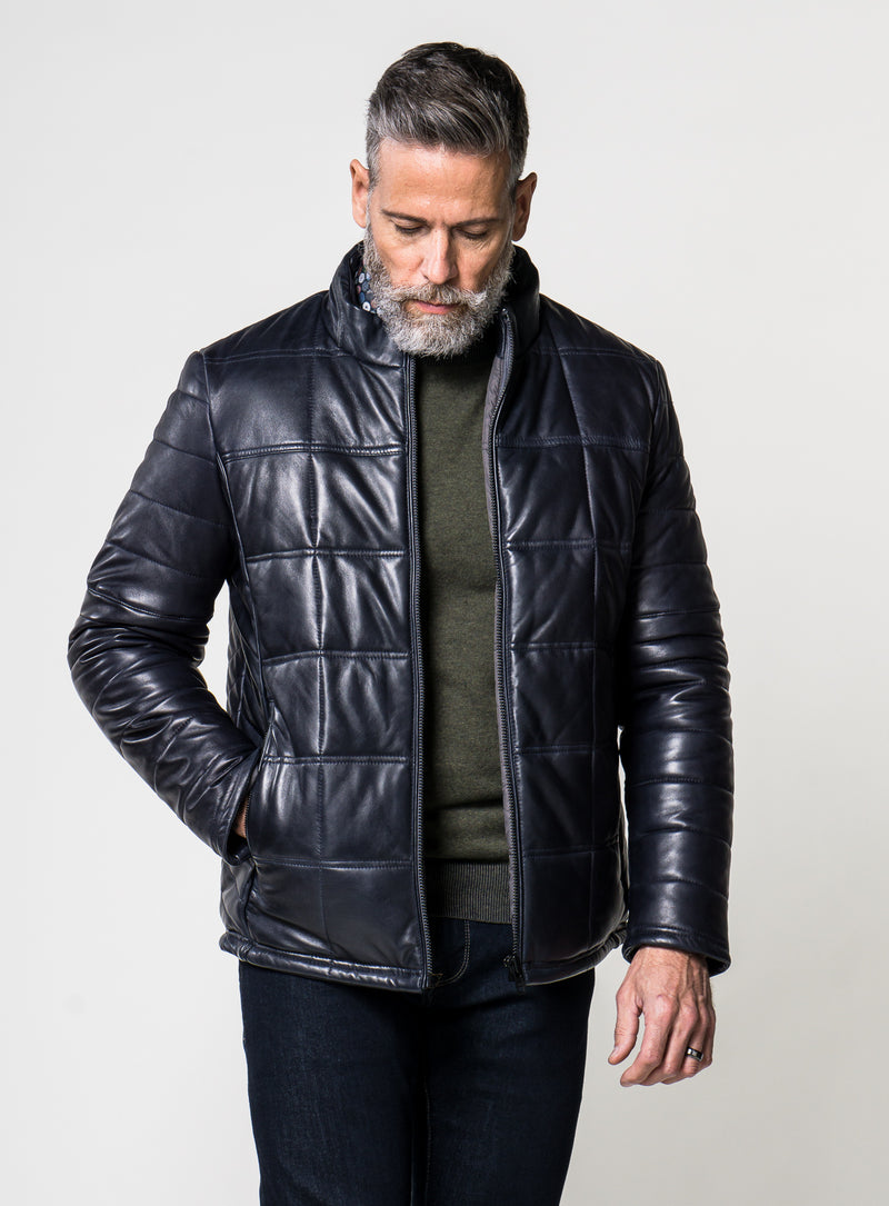 quilted leather jacket - anthony of london -navy