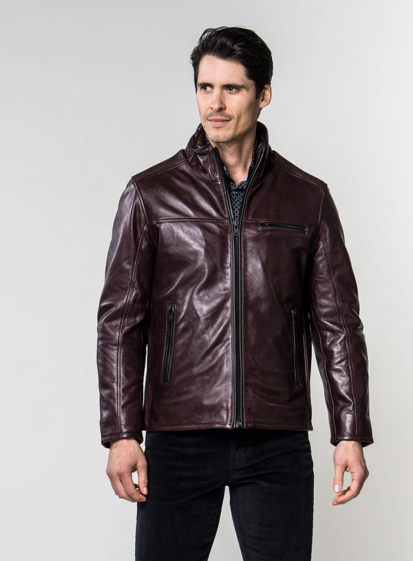Stand Up Collar Leather Jacket - Anthony of London -BURGUNDY