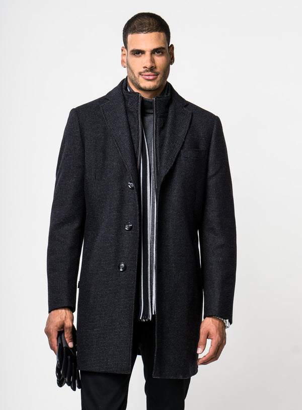 Woven Box Neat Topcoat - Anthony of London Luxury -BLACK