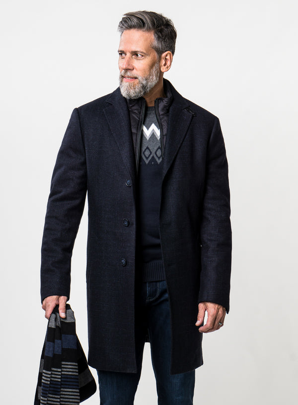 Navy Woven Plaid Topcoat - Anthony of London Luxury -NAVY