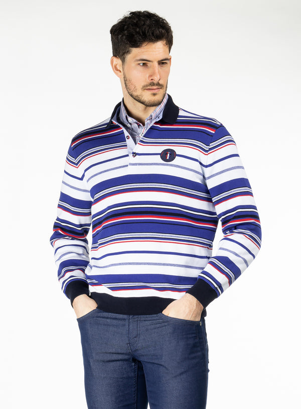 Striped Long Sleeves Polo - Campione -WHITE
