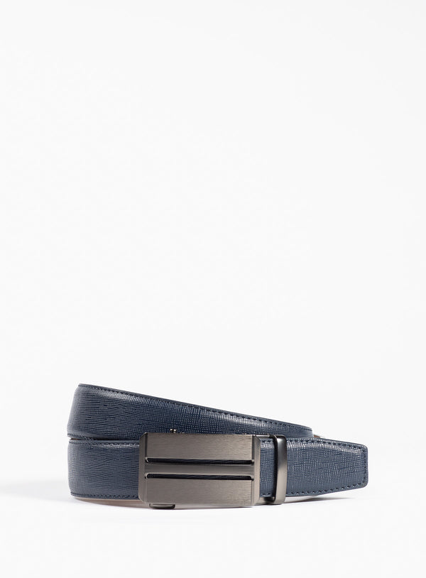 Navy Herringbone Leather Belt - Anthony Of London -NAVY