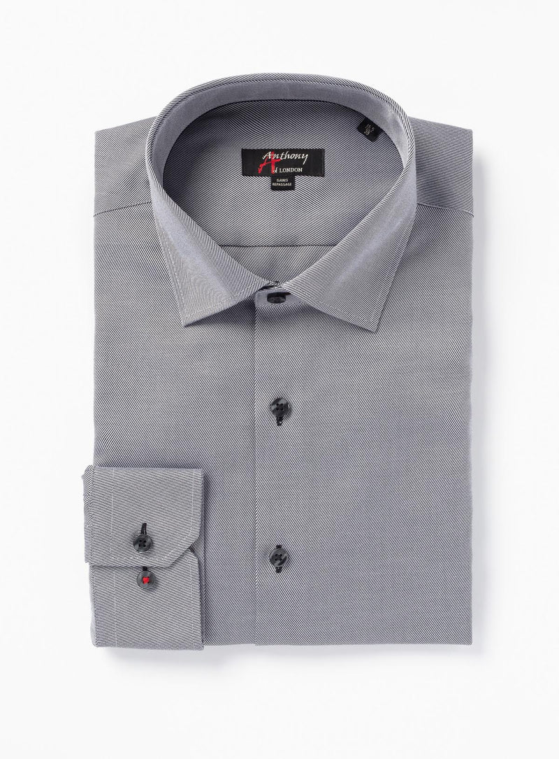 solid twill non-iron dress shirt - anthony of london -charcoal