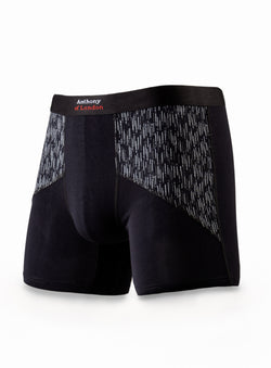 Side Details Boxer Underwear - Anthony of London -BLACK